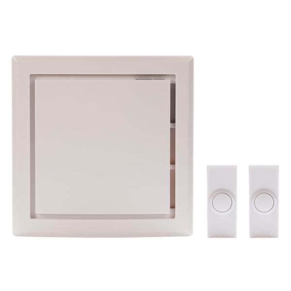 Wireless Battery Operated Door Bell Kit with 2-Push Buttons in White