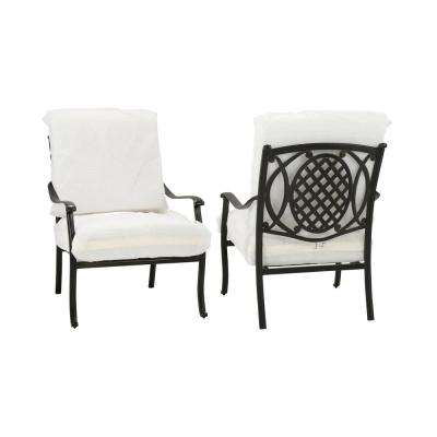 Belcourt Custom Metal Stationary Outdoor Lounge Chair (2-Pack) with Cushions Included, Choose Your Own Color