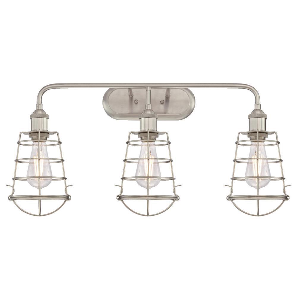 Oliver 3-Light Brushed Nickel Wall Mount Bath Light