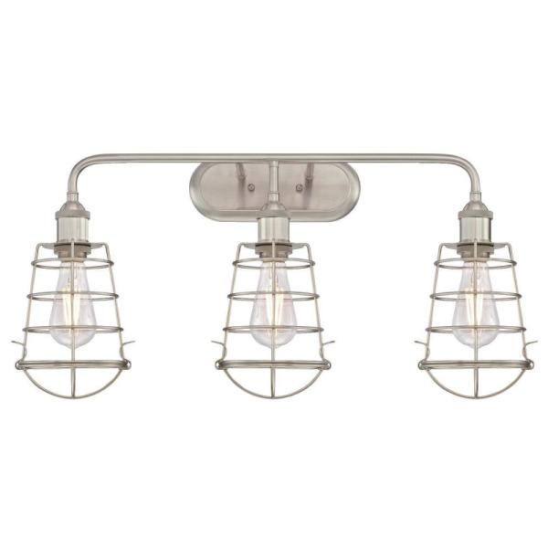 Oliver 3-Light Brushed Nickel Wall Mount Bath Light