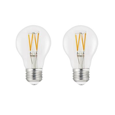 60-Watt Equivalent A19 Dimmable Filament LED ENERGY STAR 90+ CRI Clear Glass Light Bulb, Bright White (2-Pack)