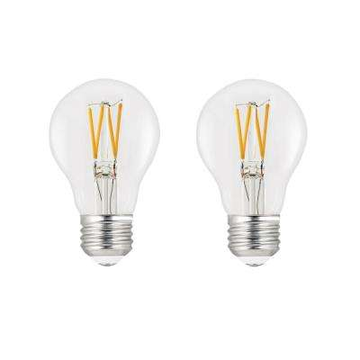 60-Watt Equivalent A19 Dimmable Filament LED ENERGY STAR 90+ CRI Clear Glass Light Bulb Bright White (2-Pack)