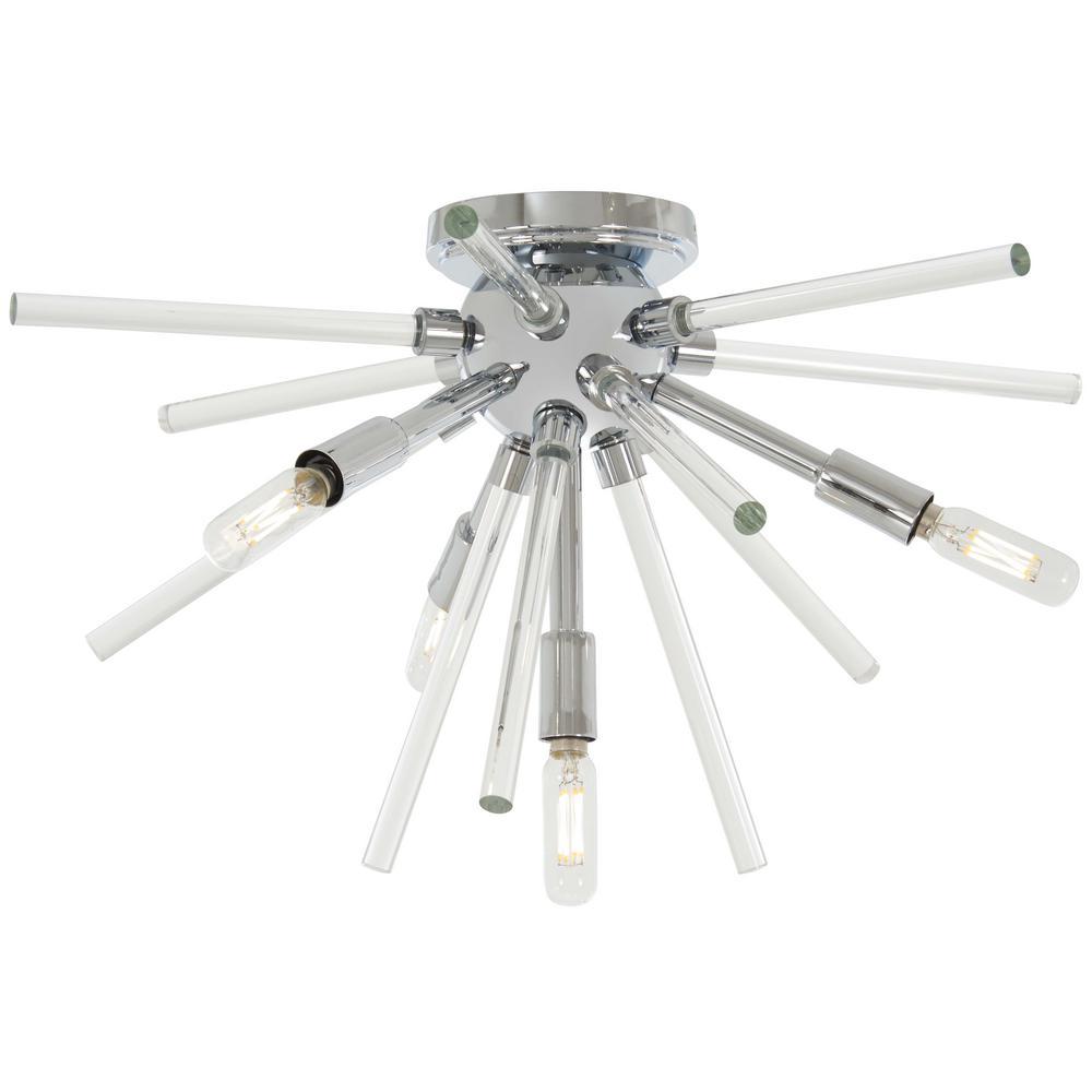 Spiked 4-Light Chrome Flushmount Light
