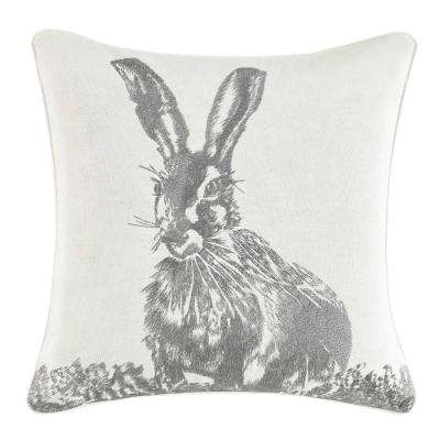 18 in. x 18 in. Bunny Cotton Throw Pillow