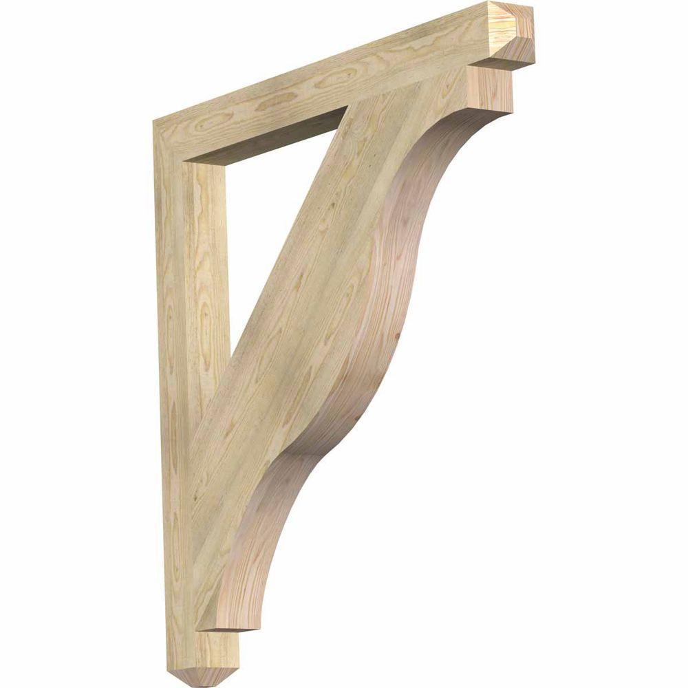 Ekena Millwork 4 in. x 44 in. x 44 in. Douglas Fir Funston Craftsman Rough Sawn Bracket
