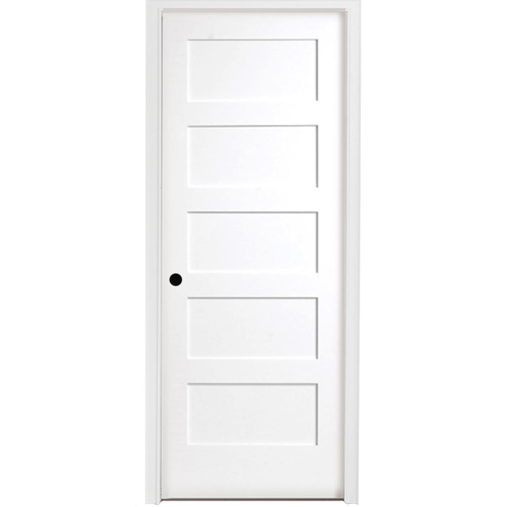 36 in. x 80 in. 5-Panel Shaker White Primed Right Hand