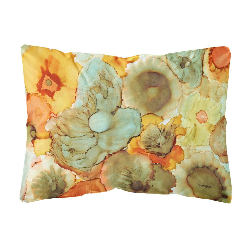 Caroline's Treasures 12 in. x 16 in. Multi-Color Lumbar Outdoor Throw Pillow with Abstract Flowers Teal and orange Fabric Decorative Pillow