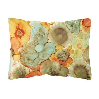12 in. x 16 in. Multi-Color Lumbar Outdoor Throw Pillow with Abstract Flowers Teal and orange Fabric Decorative Pillow
