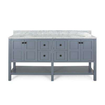 Jaeden 72 in. W x 22 in. D Bath Vanity with Carrara Marble Vanity Top in Grey with White Basin