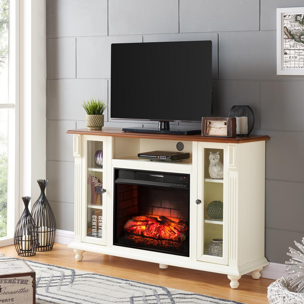 Southern Enterprises Fossil Creek 52 In Electric Fireplace Tv Stand In Antique White Hd606101