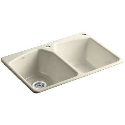 Tanager Drop-In Cast-Iron 33 in. 2-Hole Double Bowl Kitchen Sink in Cane Sugar