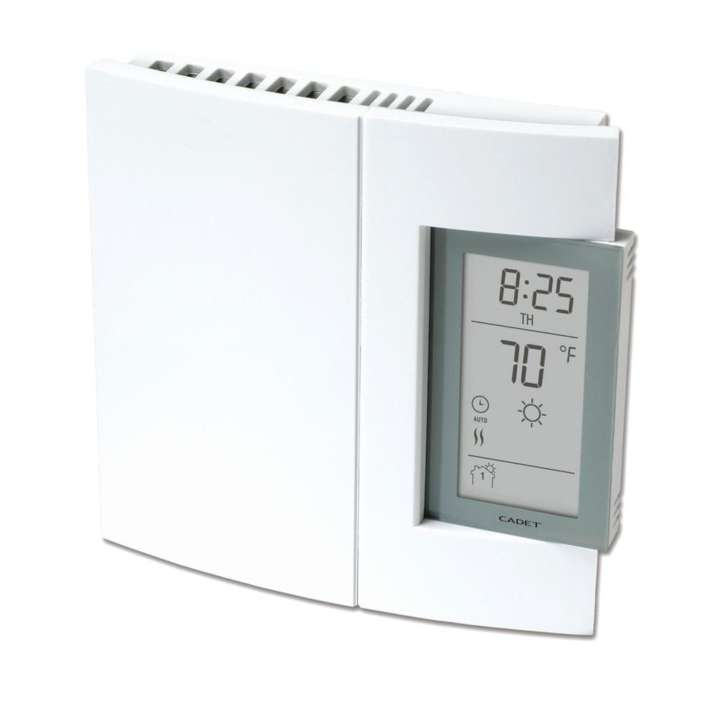 Cadet 16.7 Amp 120/208/240-Volt Single-Pole Electronic 7-Day Programmable Wall Thermostat in White