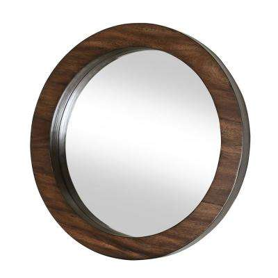 Axelle 36 in. Round Wood Framed Wall Mirror