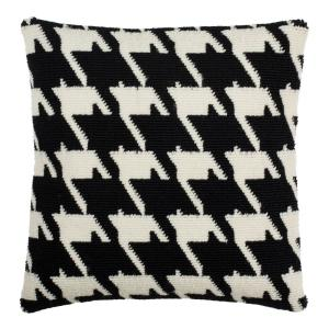 Black/Ivory Hanne Houndstooth Square Outdoor Throw Pillow