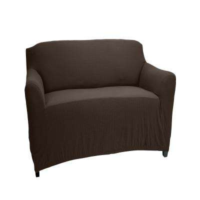96.5 in. x 23.6 in. x 27.5 in. Brown Pixel Stretch Chair Slip Cover
