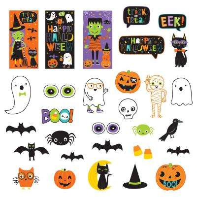 65 in. Halloween Friends Mega Value Pack Scene Setters Wall Decorating Kit
