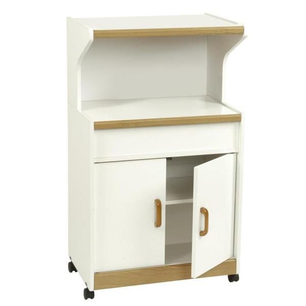 Kershaw White Microwave Cart with Storage