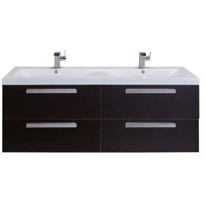 Surf 57 in. W x 19 in. D x 24 in. H Vanity in Wenge with Acrylic Top in White with White Basin