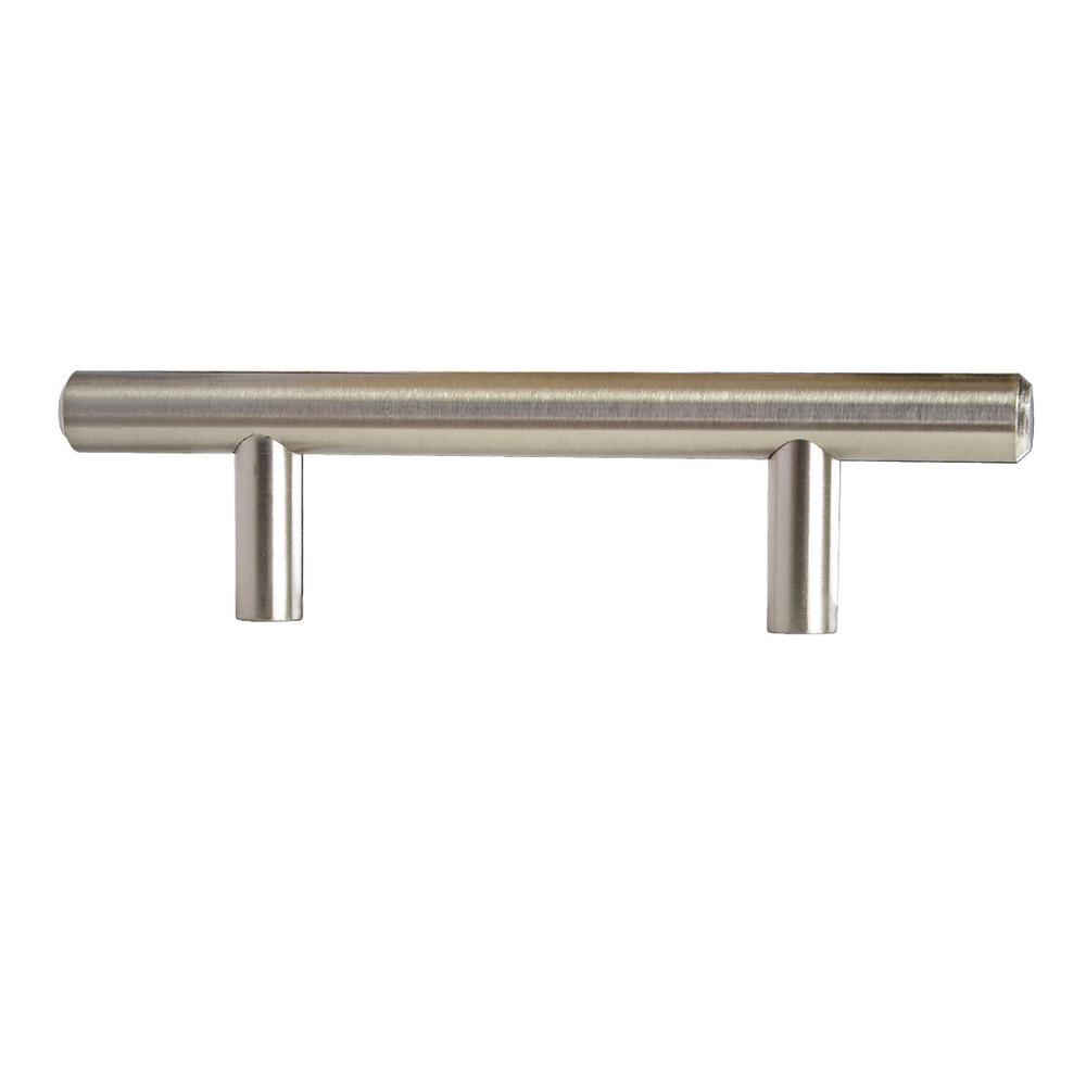 3 In Bar Cabinet Pull Center To Satin Nickel Modern Straight Euro Style 25 Pack