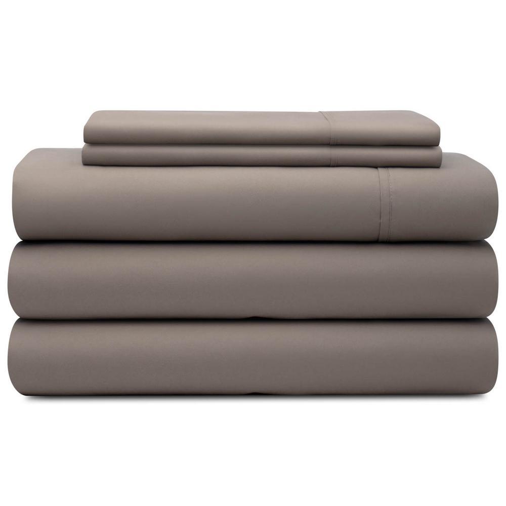 5-Piece Sandstone Microfiber Split King Sheet Set