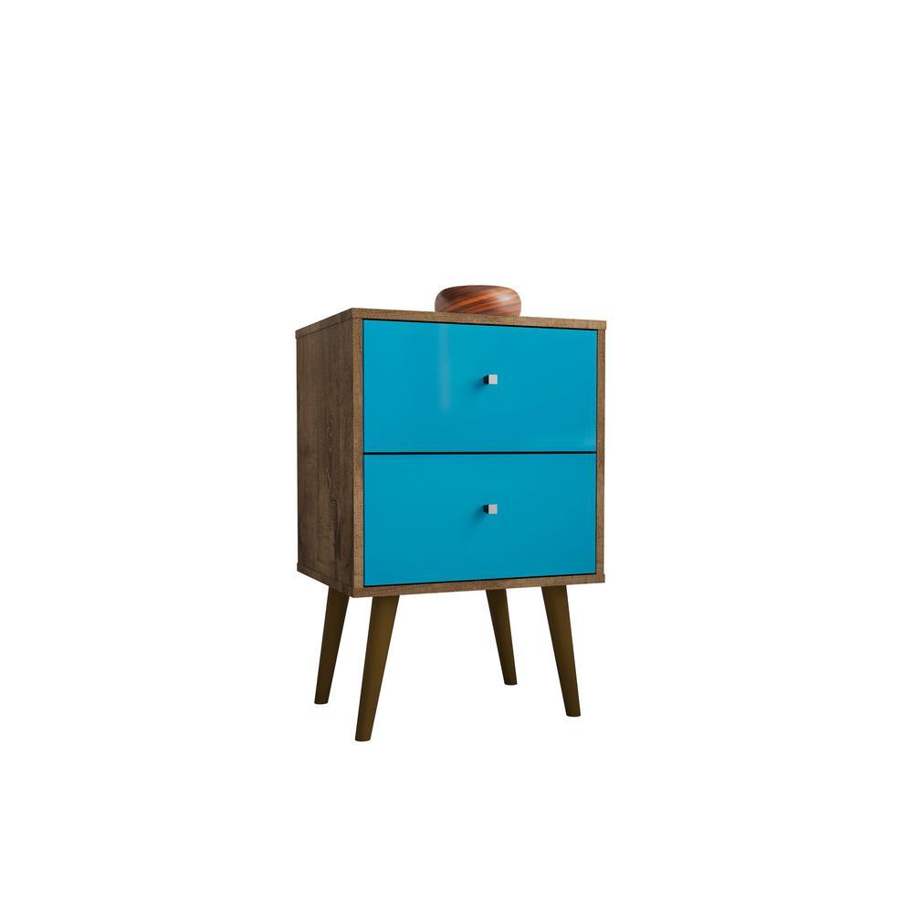 Manhattan Comfort Liberty 2.0 Rustic Brown and Aqua Blue Nightstand 204AMC93