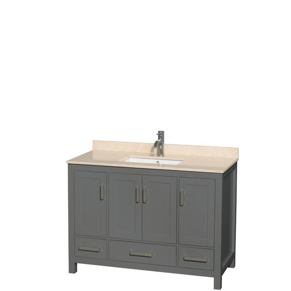 Sheffield 48 in. W x 22 in. D Vanity in Dark Gray with Marble Vanity Top in Ivory with White Basin