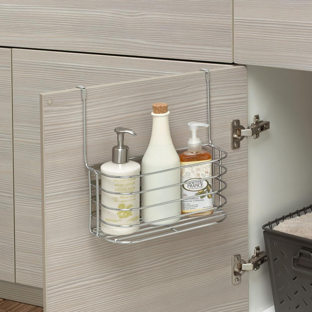 Spectrum 11 in. x 11.25 in. x 7.25 in. Steel Over the Cabinet Medium Basket and Towel Bar in Chrome