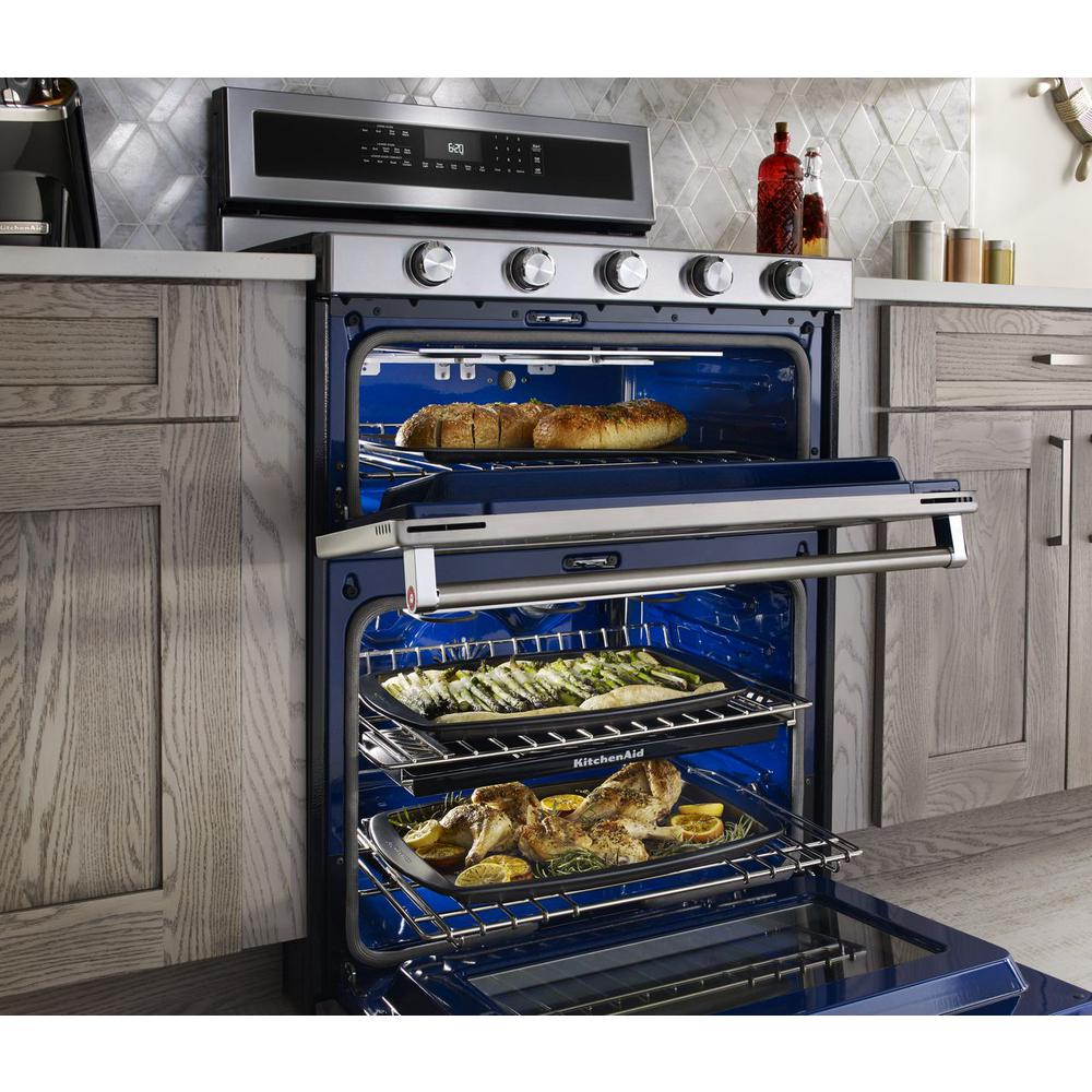 KitchenAid 6.7 cu. ft. Double Oven Dual Fuel Gas Range with Self-Cleaning  Convection Oven in Stainless Steel
