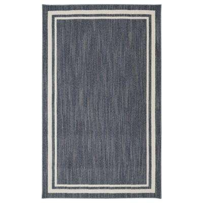 Border Loop Denim Cream 8 Ft X 10 Area Rug