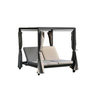 Diana Steal Outdorr Chaise Lounge Sunbed with Grey Cushions