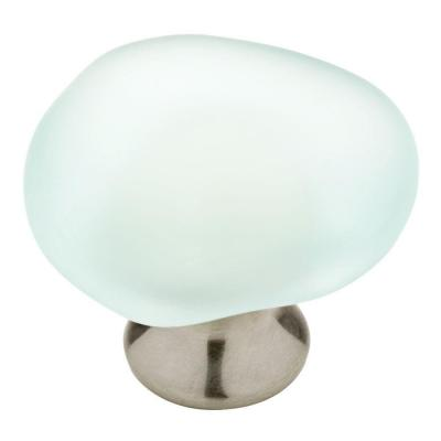 1-1/2 in. (38mm) Satin Nickel and Natural Aqua Sea Glass Cabinet Knob