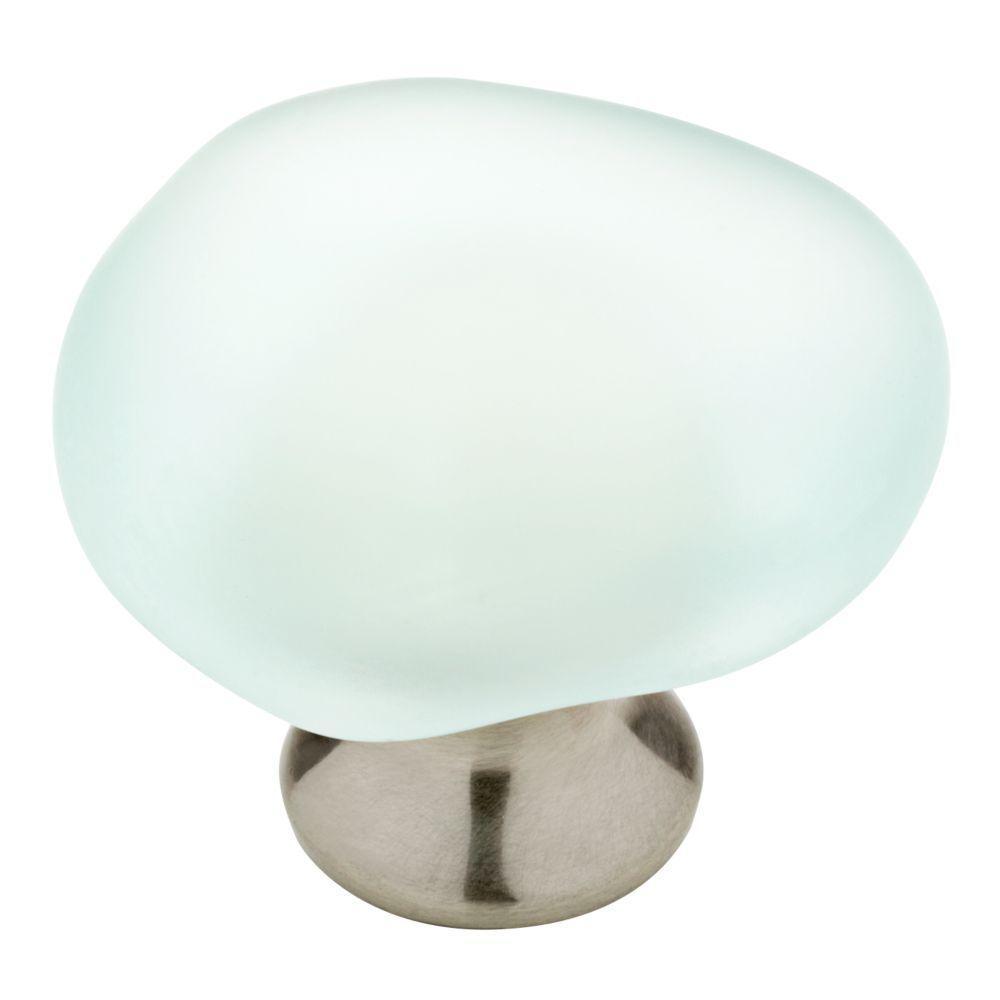 1-1/2 in. (38mm) Satin Nickel and Natural Aqua Sea Glass Cabinet Knob