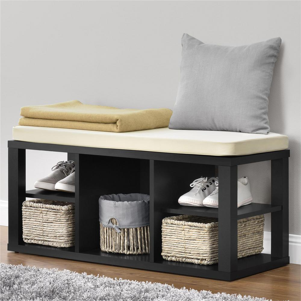 Cushioned Seating Storage Bench: Ameriwood Parsons Black With Ivory Cushion Seat Storage