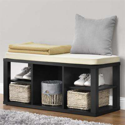 Parsons Black with Ivory Cushion Seat Storage Bench