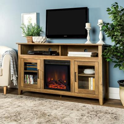 Modern Farmhouse Tall Fireplace TV Stand - Rustic Oak