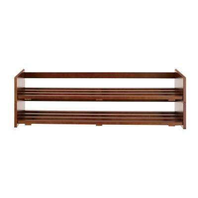 2-Tier Shoe Rack in Mahogany