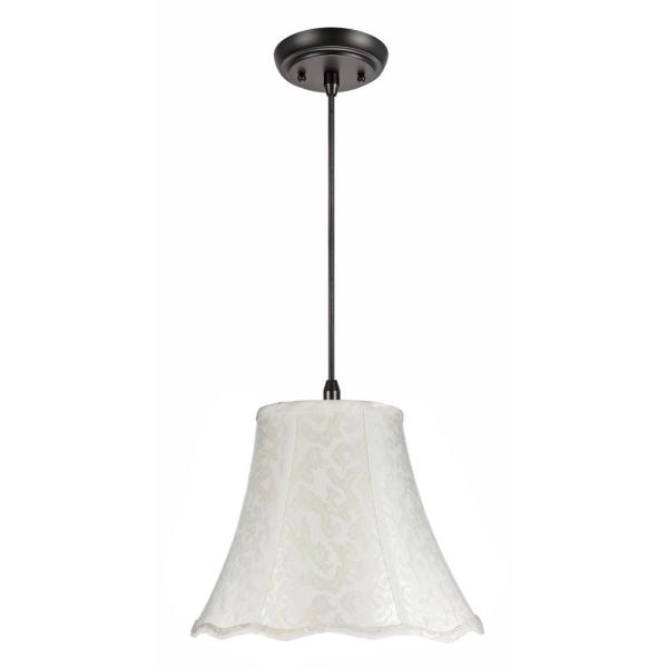 1-Light Oil Rubbed Bronze Pendant with Off White Bell Fabric Shade