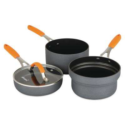 4-Piece Stackable Hard Anodized Sauce and Fry Pan Set