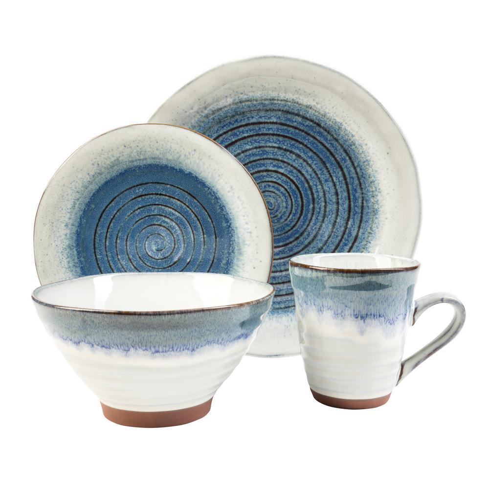 Talia 16-Piece Casual Blue Stoneware Dinnerware Set (Service for 4)