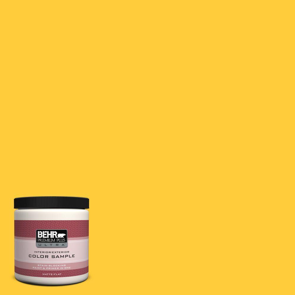 BEHR Premium Plus Ultra 8 oz. #S-G-360 Bright Star Matte Interior/Exterior Paint and Primer in One Sample