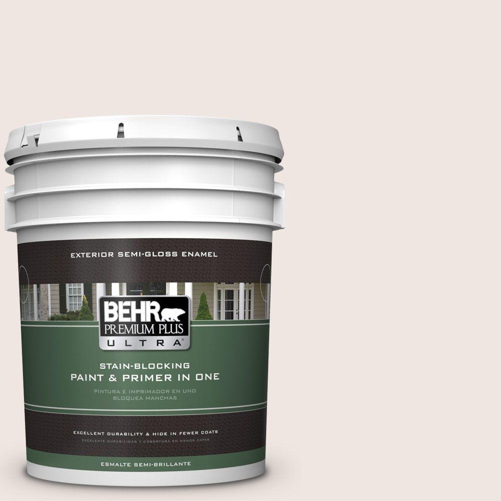 BEHR Premium Plus Ultra 5-gal. #PR-W12 Timid White Semi-Gloss Enamel Exterior Paint