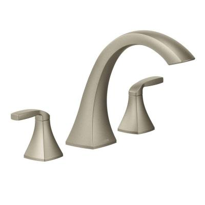 Voss 2-Handle Deck-Mount High-Arc Roman Tub Faucet Trim Kit in Brushed Nickel (Valve Not Included)