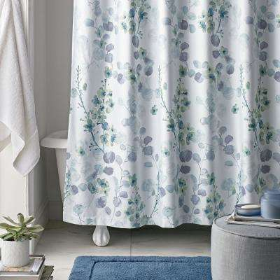 Plum Blossom 72 in. Multi Wrinkle-Free Sateen Shower Curtain