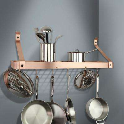 Handcrafted 30 in. Brushed Copper Gourmet Bookshelf Wall Rack with Straight Arm and 12-Hooks