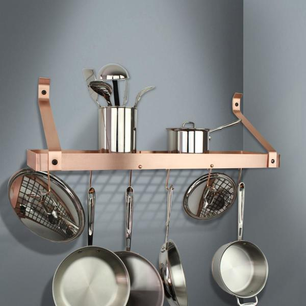 Enclume Handcrafted 30 in. Brushed Copper Gourmet Bookshelf Wall Rack with