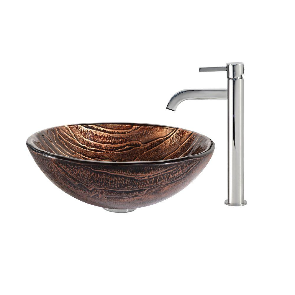 Gaia Glass Vessel Sink in Brown with Ramus Faucet in Chrome