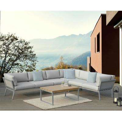 Conrad Grey 5-Piece Aluminum Outdoor Sectional Set with Olefin Grey Cushions