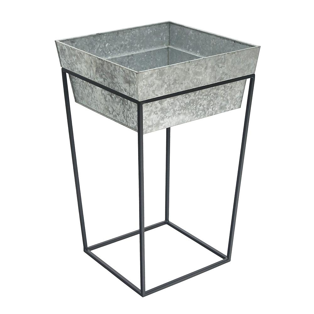 Achla Designs 25 In Tall Black Powder Coat Metal Large Indoor Outdoor Arne Plant Stand With Deep Galvanized Tray Fb 46g7 The Home Depot