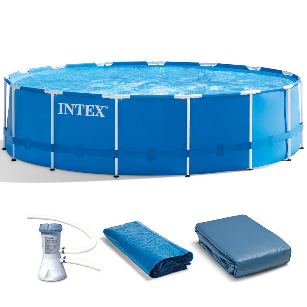 Intex 15 Ft X 48 In Deep Round Metal Frame Pool Set