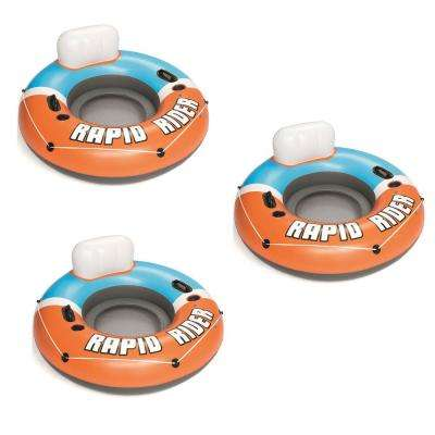 Rapid Rider Orange CoolerZ Inflatable Blow Up Pool Chair Tube (3-Pack)